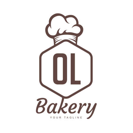 OL Letter Logo Design with Chef Icon, Bakery Logo Concept