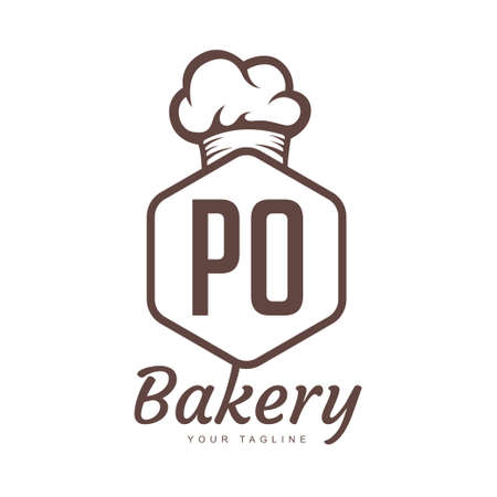 PO Letter Logo Design with Chef Icon, Bakery Logo Concept