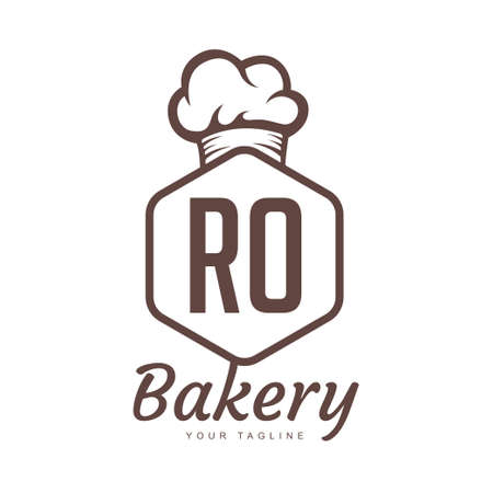 RO Letter Logo Design with Chef Icon, Bakery Logo Concept