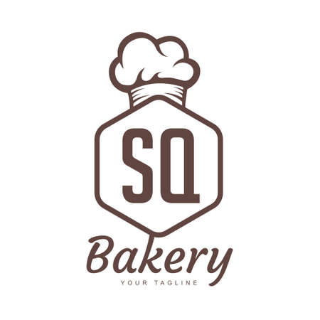 SQ Letter Logo Design with Chef Icon, Bakery Logo Concept Logó