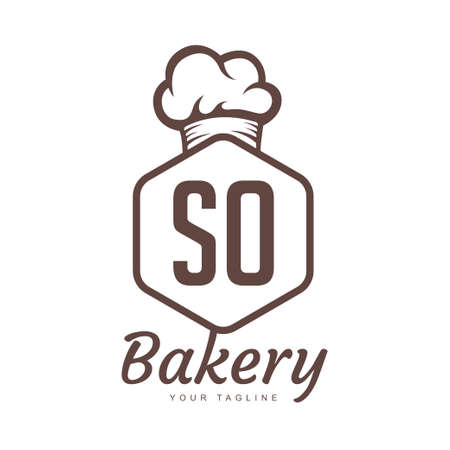 SO Letter Logo Design with Chef Icon, Bakery Logo Concept
