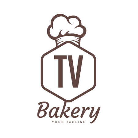 TV Letter Logo Design with Chef Icon, Bakery Logo Concept