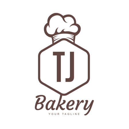 TJ Letter Logo Design with Chef Icon, Bakery Logo Concept