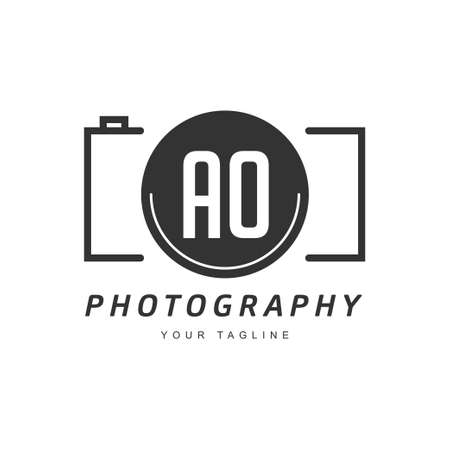 AO Letter Logo Design with Camera Icon, Photography Logo Concept Ilustração