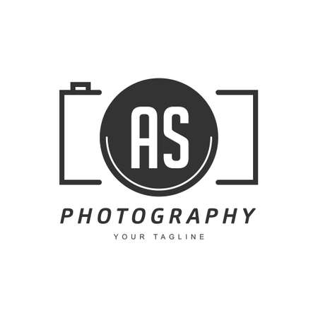 AS Letter Logo Design with Camera Icon, Photography Logo Concept