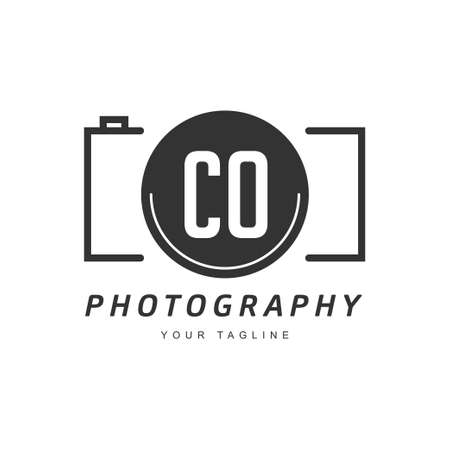 CO Letter Logo Design with Camera Icon, Photography Logo Concept