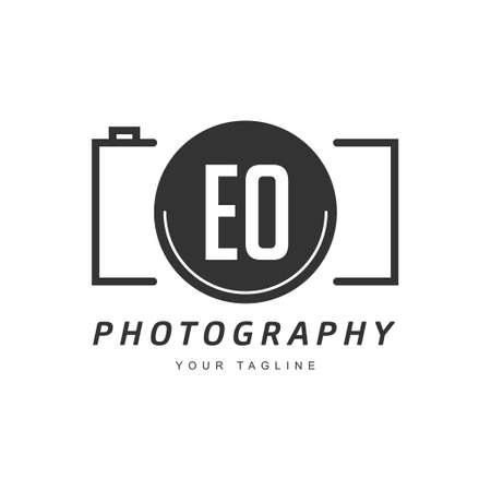 EO Letter Logo Design with Camera Icon, Photography Logo Concept