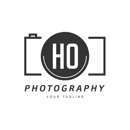 HO Letter Logo Design with Camera Icon, Photography Logo Concept Ilustração