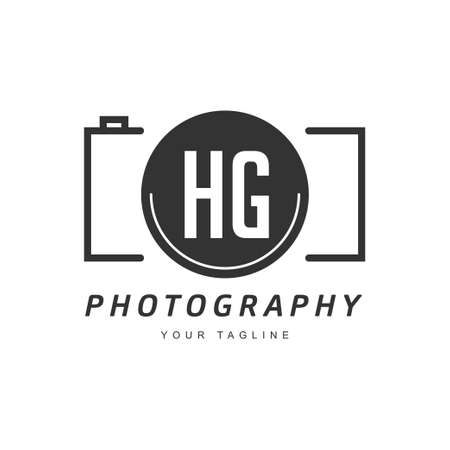HG Letter Logo Design with Camera Icon, Photography Logo Concept