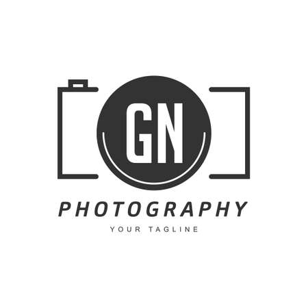 GN Letter Logo Design with Camera Icon, Photography Logo Concept