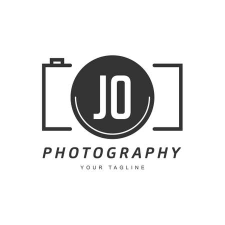 JO Letter Logo Design with Camera Icon, Photography Logo Concept