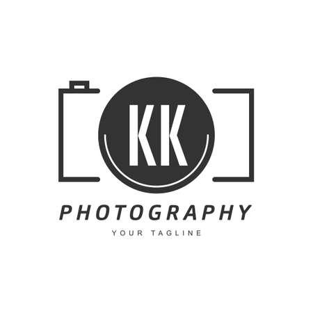 KK Letter Logo Design with Camera Icon, Photography Logo Concept