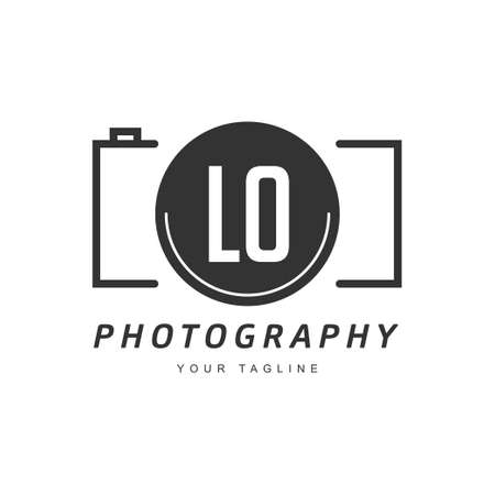 LO Letter Logo Design with Camera Icon, Photography Logo Concept