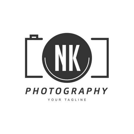 NK Letter Logo Design with Camera Icon, Photography Logo Concept Logó