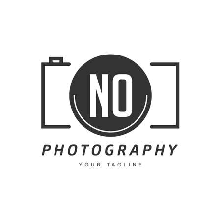 NO Letter Logo Design with Camera Icon, Photography Logo Concept Ilustração