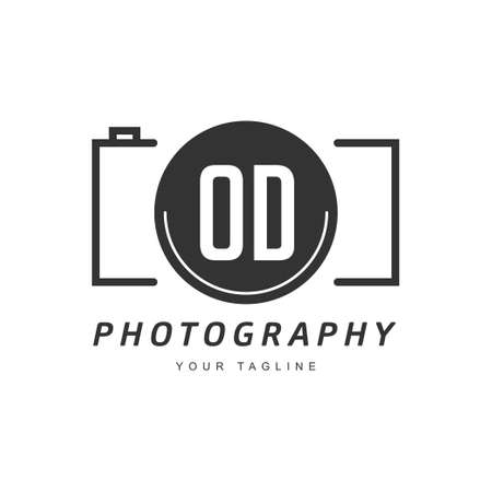 OD Letter Logo Design with Camera Icon, Photography Logo Concept