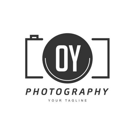 OY Letter Logo Design with Camera Icon, Photography Logo Concept Ilustração