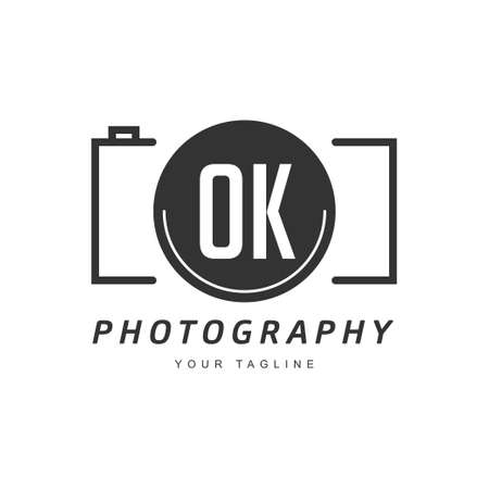 OK Letter Logo Design with Camera Icon, Photography Logo Concept