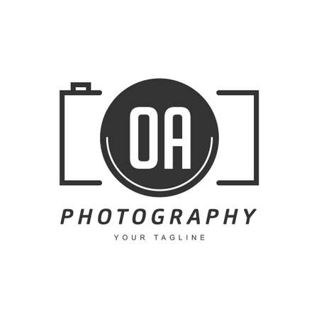 OA Letter Logo Design with Camera Icon, Photography Logo Concept Ilustração