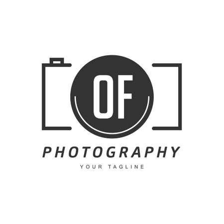 OF Letter Logo Design with Camera Icon, Photography Logo Concept