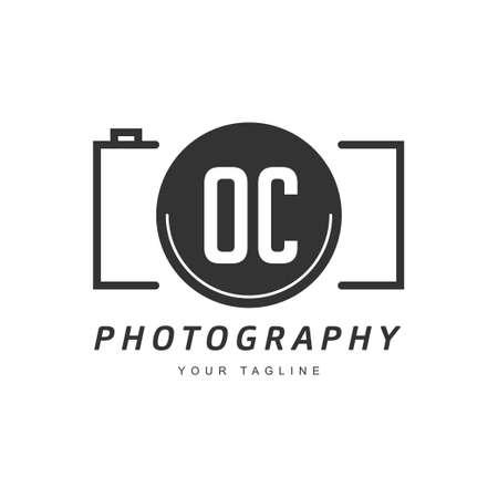 OC Letter Logo Design with Camera Icon, Photography Logo Concept