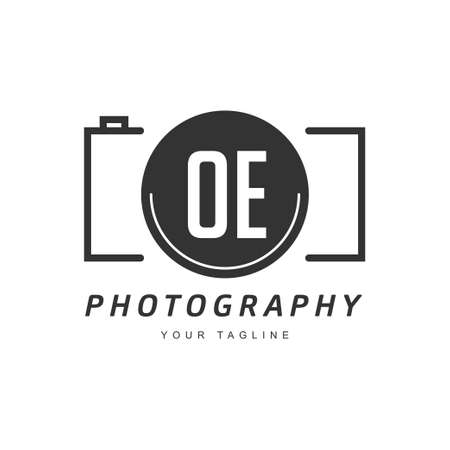 OE Letter Logo Design with Camera Icon, Photography Logo Concept
