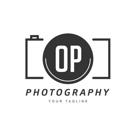 OP Letter Logo Design with Camera Icon, Photography Logo Concept