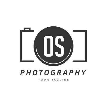 OS Letter Logo Design with Camera Icon, Photography Logo Concept