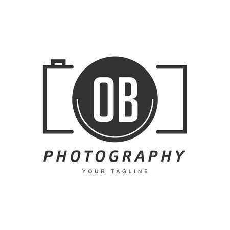 OB Letter Logo Design with Camera Icon, Photography Logo Concept