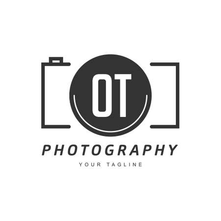 OT Letter Logo Design with Camera Icon, Photography Logo Concept