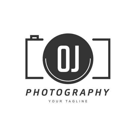 OJ Letter Logo Design with Camera Icon, Photography Logo Concept
