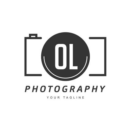 OL Letter Logo Design with Camera Icon, Photography Logo Concept Ilustração