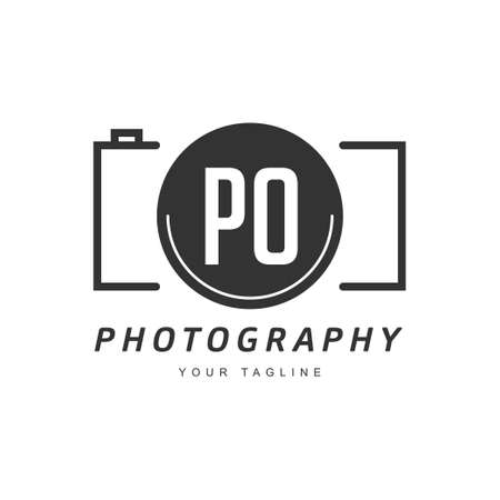 PO Letter Logo Design with Camera Icon, Photography Logo Concept Ilustração