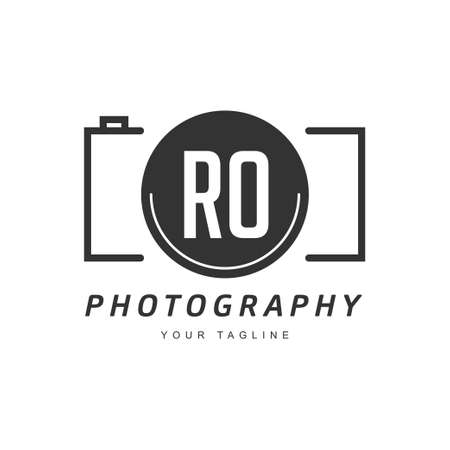 RO Letter Logo Design with Camera Icon, Photography Logo Concept