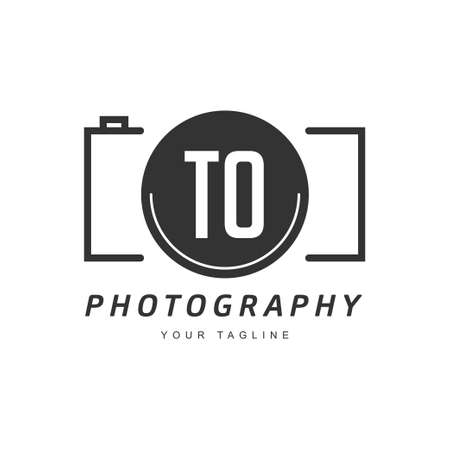 TO Letter Logo Design with Camera Icon, Photography Logo Concept
