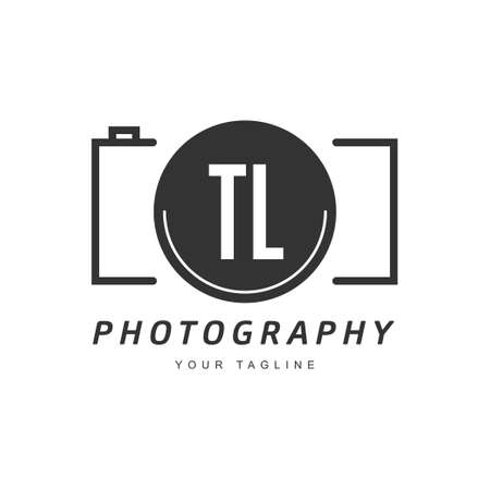 TL Letter Logo Design with Camera Icon, Photography Logo Concept Logó