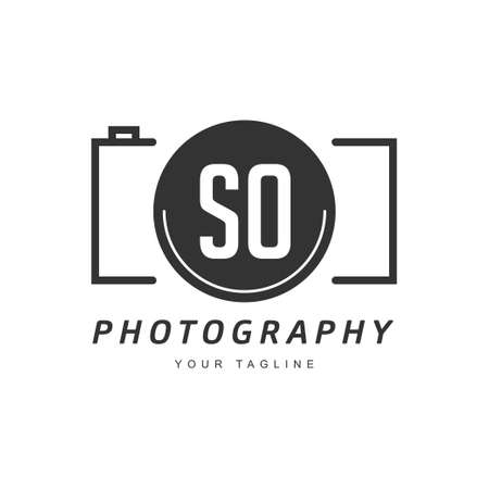 SO Letter Logo Design with Camera Icon, Photography Logo Concept