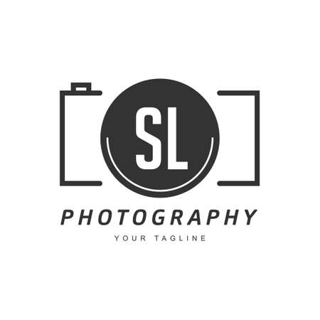 SL Letter Logo Design with Camera Icon, Photography Logo Concept