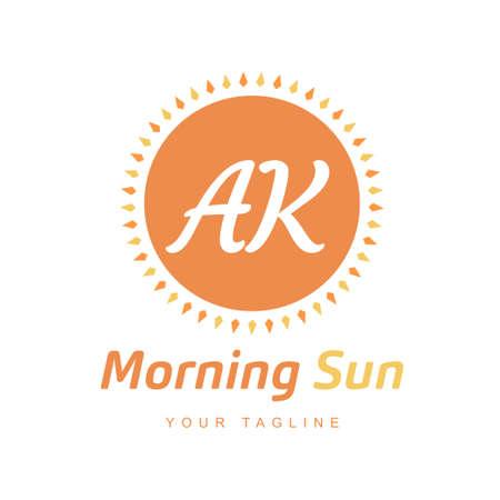 AK Letter Logo Design with Sun Icon, Morning Sunlight Logo Concept