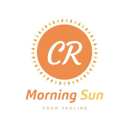 CR Letter Logo Design with Sun Icon, Morning Sunlight Logo Concept
