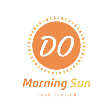 DO Letter Logo Design with Sun Icon, Morning Sunlight Logo Concept