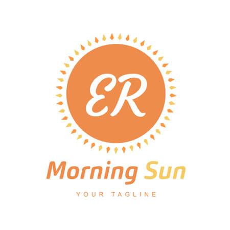ER Letter Logo Design with Sun Icon, Morning Sunlight Logo Concept
