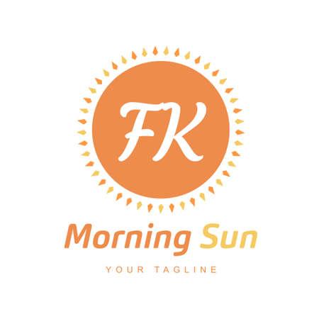FK Letter Logo Design with Sun Icon, Morning Sunlight Logo Concept Logó