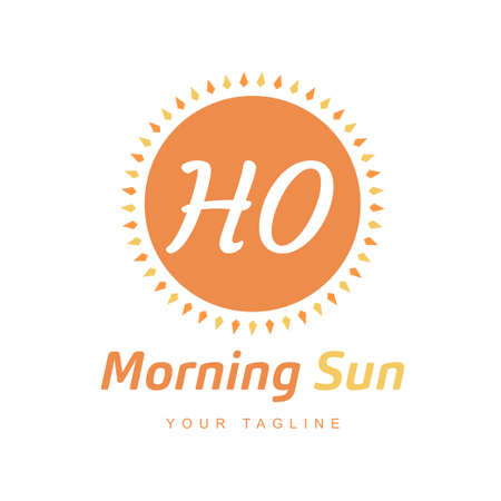 HO Letter Logo Design with Sun Icon, Morning Sunlight Logo Concept