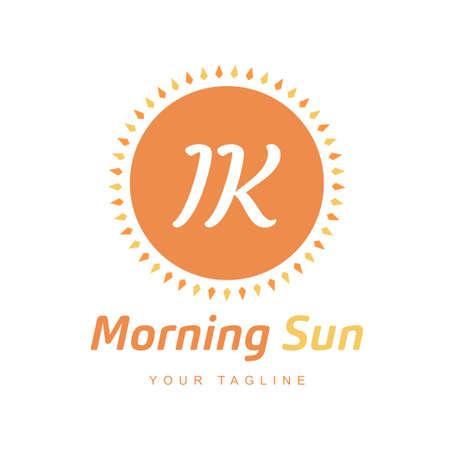 IK Letter Logo Design with Sun Icon, Morning Sunlight Logo Concept