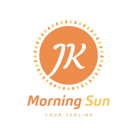 JK Letter Logo Design with Sun Icon, Morning Sunlight Logo Concept