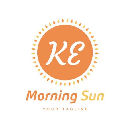 KE Letter Logo Design with Sun Icon, Morning Sunlight Logo Concept