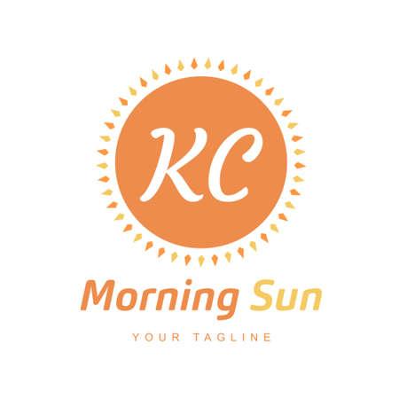 KC Letter Logo Design with Sun Icon, Morning Sunlight Logo Concept