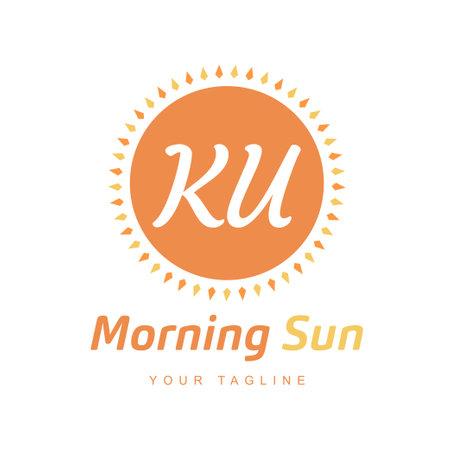 KU Letter Logo Design with Sun Icon, Morning Sunlight Logo Concept