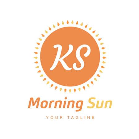 KS Letter Logo Design with Sun Icon, Morning Sunlight Logo Concept